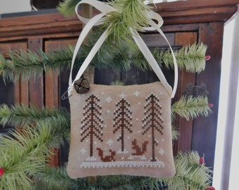 Completed Cross Stitch Ornament, Winter Scene Pincushion ~ Ready To Ship~