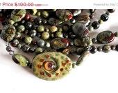 On Sale Lampwork Necklace with Dragon Blood Jasper, Gemstone Jewelry, Artisan Beads, Designer Multi-strand Necklace