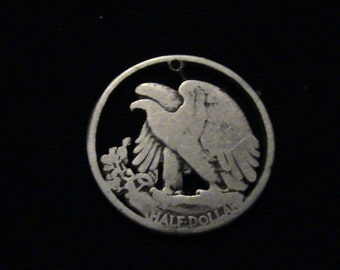 US Eagle - obverse of Walking Liberty - cut coin pendant - .900 pure SILVER - 1938 - DISCOUNT