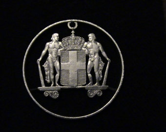 GREECE - cut coin pendant - Ancient Greek Warriors - 1968