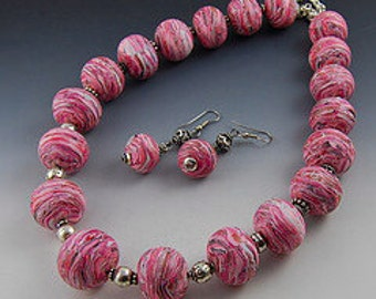 Marbled Organic Pink Necklace