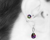 Swarovski Crystal Ear Cuff, No PIercing Needed, Wire Wrapped, Electra Swarovski Crystal, Youniquely Chic, Antares III v9