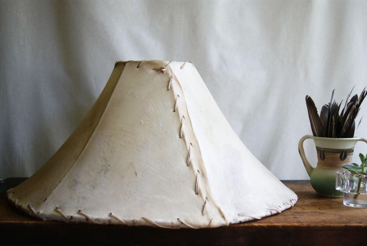 Vintage Rawhide Lampshade Cow Hide Lamp Shade Western