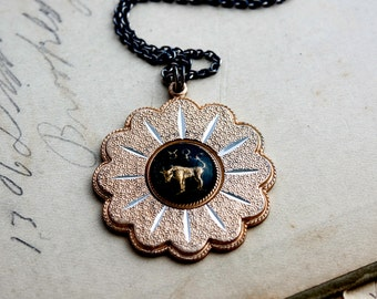 Taurus Necklace, Bull Necklace, May Birthday, April Birthday, Sun Pendant, Vintage Pendant, Vintage Necklace, Sterling Silver, Zodiac