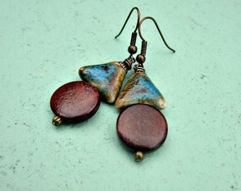 Blue Ceramic and Dark Wood Beaded Rustic Brass Dangle Earrings: Gwynn
