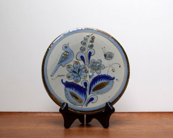 El Palomar Tonala Blue Tea Tile or Trivet, Ken Edwards, Mexican Pottery, Birds Flowers Butterfly