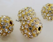 SALE Gold Pave Rhinestone Crystal 10mm Round Pave Bead Grade A-jewelry findings-round Crystal rhinestone jewelry findings,Spacer beads