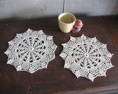 Handmade Crochet Doily - Pair of Matching Doilies - Spoke and Pineapple in Cream Color