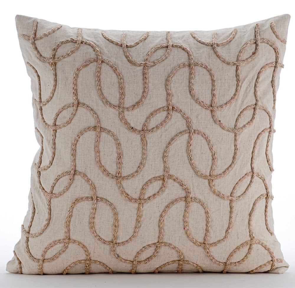 Natural Beige Throw Pillow Covers 20x20 Embroidered Linen