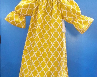 Girls Spring Dress - Mustard Dress - Quarterfoils - Birthday Dress - Peasant Dress - Groovy Gurlz