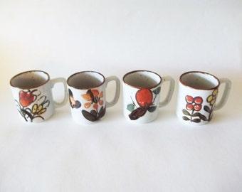Otagiri Style Stoneware Mugs, 1970s Japan Pottery, Orange/Yellow Flowers, Set of 4