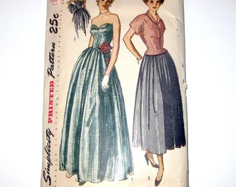 1940s Evening Dress or Sleeveless Ball Gown Pattern With Jacket  / Petal Bust / New Look / Nipped Waist  Uncut