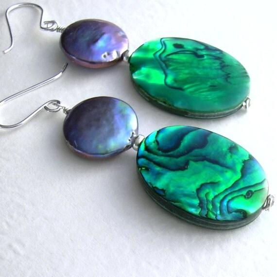 Emerald Green Abalone Earrings, Big Bold Jewelry, Peacock Pearls, Green Dangle Earrings