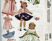 "Vintage Antique Doll Pattern, 1953 Poodle Skirt and 7 Other Outfits For 15"" Dolls Such As Maggie and Alice #52"