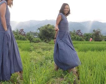 Rain dancer....Long Zen cotton/linen dress (fit M-L) Lavender purple