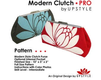 Modern Clutch PRO by UPSTYLE - NEW Purse Pattern - Professional Results - Full Size Pattern Instructions with Color Photos
