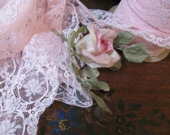 Wow...Lowered Price...Pink Wide Lace...Steal of a deal, New off Roll