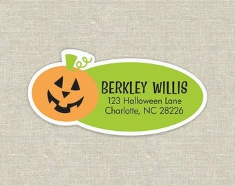 jack o lantern personalized waterproof address labels, set of 2 sheets, 24 labels