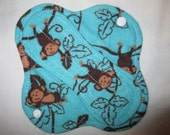 """Cloth pantyliner 6"""" with blue monkeys fabric"""