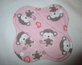 "Cloth pantyliner 6"" with pink monkeys fabric"