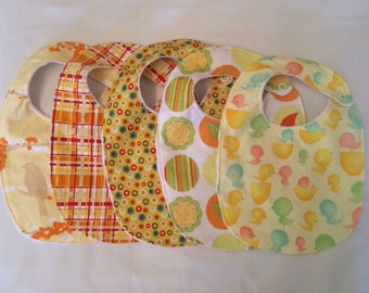 READY TO SHIP Baby Gift Set neutral boy or girl - 5 Bibs with snap closures and minky backing (see shop annc. for free shipping offer)