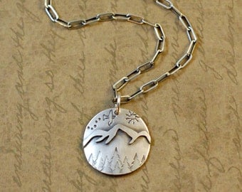 "Sterling silver 13/16"" mountain charm, necklace, soldered, oxidized, rustic, trees, outdoors, nature, hiking, summer, bird, outdoors, sun"