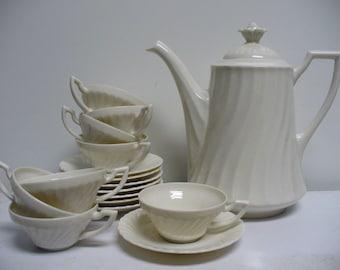 All White Mid Century Tea Set