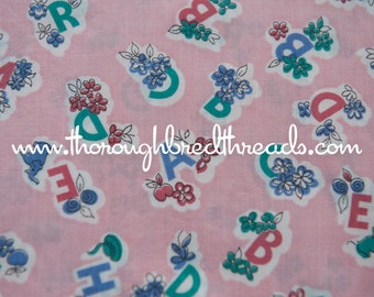 Daisy Alphabet - Vintage Fabric Whimsical Novelty Adorable New Old Stock 40s 50s Bubblegum Pink