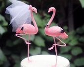 Pink Flamingo Wedding Cake Topper: Bride & Groom Cake Topper - Featured in Destination Wedding Magazine