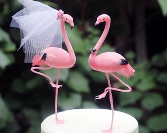 Pink Flamingo Wedding Cake Topper: Tropical Bride & Groom Love Bird Cake Topper -- Featured in Destination Wedding Magazine March/April 2016