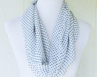 Short Polka Dot Infinity Scarf, Blue Polka Dots, Women's Chiffon Scarf, Circle Scarf, Loop Scarf, Tube Scarf , Scarves, Eclectasie