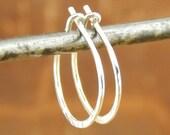 Silver hoop earrings, tiny 1/2 inch hoops,  *standard 20 gauge* hammered SHINY sterling silver, 0.5 inch hoops, ONE pair.