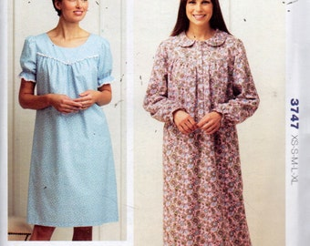 Kwik Sew 3747 Misses Nightgown Pattern Sccop Neck or Peter Pan Collar Womens Vintage Sewing Pattern Size xs s m l xl  Bust 31- 45 UNCUT