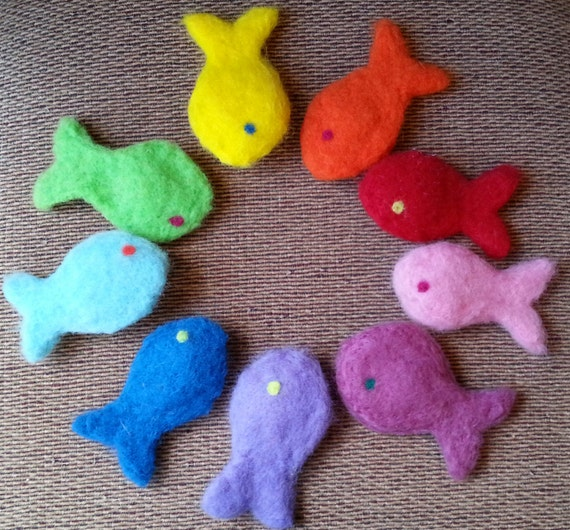 Items similar to needle felted wool catnip fish cat toy on for Moving fish for cats