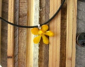 Golden Yellow Vanda Orchid - Real Flower Necklace on black cord.  Summer Fun Floral sundress festival hippie gypsy soul VW love plants soul