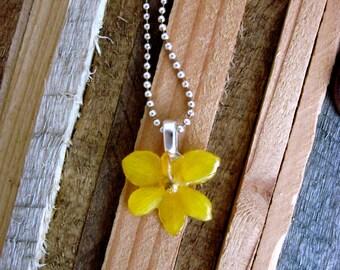 Miniature Vanda Orchid Necklace - REAL flower - sunshiney yellow on silver chain - little flowers sunshine lemon hippie child garden love