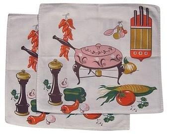 Vintage Napkin Pair Fondue Pot & Fixin's