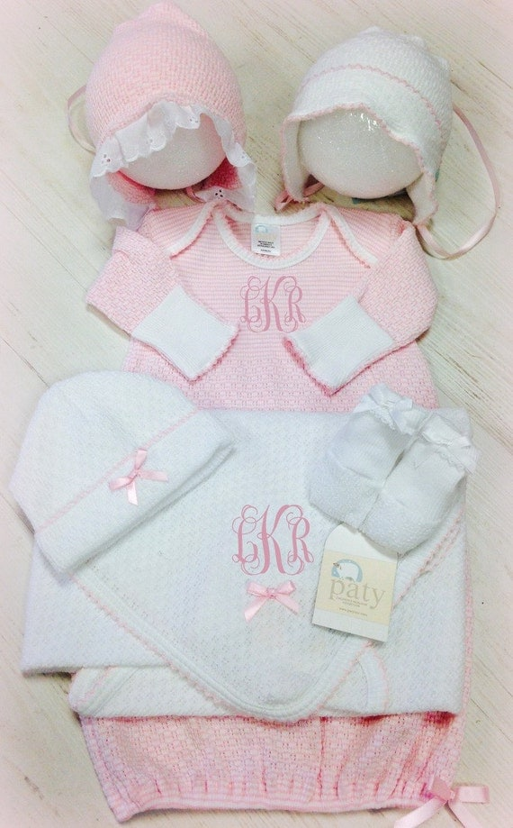 Monogrammed Paty Gown Set - Pink, Blue, Purple, or White - Great for Baby Showers