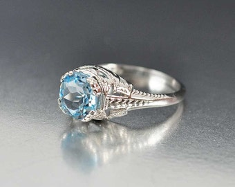 Aquamarine Engagement Ring, Solitaire Aquamarine Ring, Sterling Silver Filigree Birthstone Ring, Edwardian Engagement Style Jewelry, Wedding