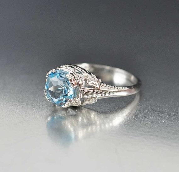 aquamarine ring solitaire unique engagement ring by boylerpf
