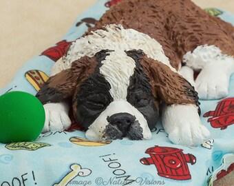St Bernard Dog Figurine Polymer Clay Dog Sculpture Saint Bernard Dog Lovers Gift Dog Art Puppy Art