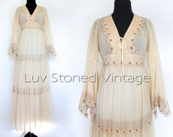 70s Vintage Lace Smocked Bohemian Boho Hippie Wedding Bridal Beach Ethereal Maxi Prom Dress | XS - S | H | 1062.8.1.15
