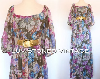 Vintage 70s Victor Costa Floral Wedding Bridesmaid Boho Hippe Maxi Dress | SM | small - medium | D020 | 1076.8.6.15