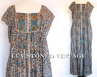Vintage 80s Indian Boho Hippie Cotton Gauze Gypsy India Caftan Kaftan Festival Midi Maxi Dress | XS - SM | 1106.9.3.15