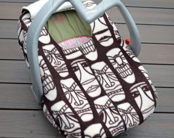 Tribal Masks Baby Car Seat Cover for Infant Rear-facing Car Seat - Practical Blanket Alternative in Cozy Fleece