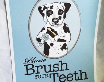 Brush Your Teeth Dalmatian - 8x10 Eco-friendly Print