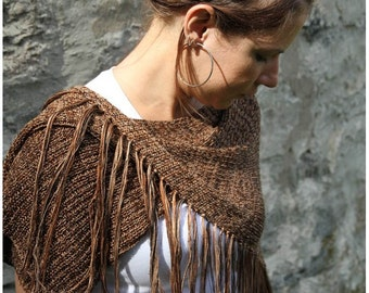 ON SALE Asymmetric woman poncho bamboo knitting shawl with fringes - Brown shades poncho cape