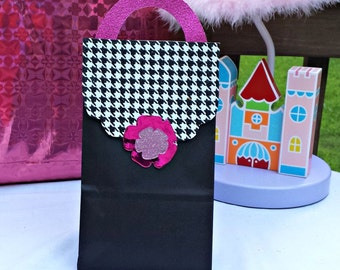 Girl Black and Plaid Purse Themed Treat Sacks for Birthday Party Goody Bags