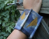 Felted Cuff Bracelet Hand Dyed Blues and Browns Ultra Fine Merino Gift for Her Cuff-011