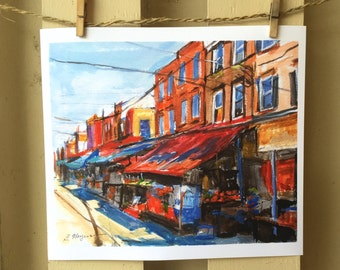 Philadelphia Watercolor Painting, 9th Street Italian Market South Philly  11x14 Art Framed  Philly Art Cityscape painting. Gwen Meyerson